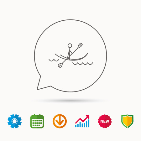 gearwheel: Kayaking on waves icon. Rafting or canoeing sign. Boating sport symbol. Calendar, Graph chart and Cogwheel signs. Download and Shield web icons. Vector