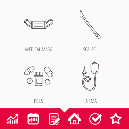 Medical mask, pills and scalpel icons. Enema linear sign. Edit document, Calendar and Graph chart signs. Star, Check and House web icons. Vector Illustration