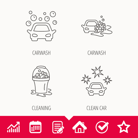 drops of water: Car wash icons. Automatic cleaning station linear signs. Wet cleaning and foam bucket flat line icons. Edit document, Calendar and Graph chart signs. Star, Check and House web icons. Vector