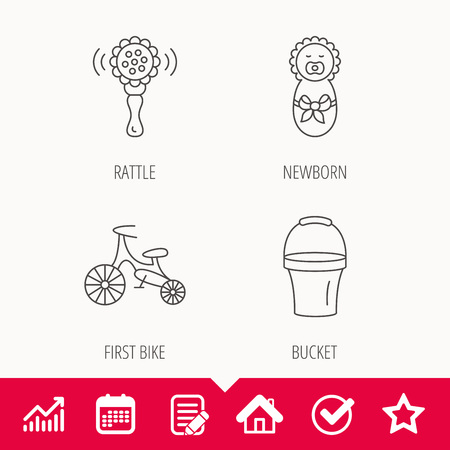 pail: Newborn, rattle and first bike icons. Newborn child, bucket linear signs. Edit document, Calendar and Graph chart signs. Star, Check and House web icons. Vector