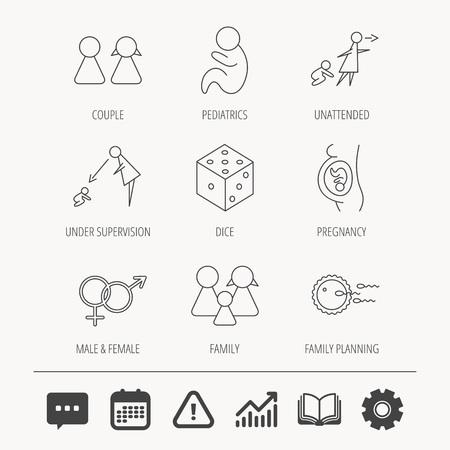 妊娠、小児および家族計画アイコン。赤ちゃん子供線形標識及び監理、無人。サイコロ、男性と女性のアイコン。教育本、グラフおよびチャット印  イラスト・ベクター素材
