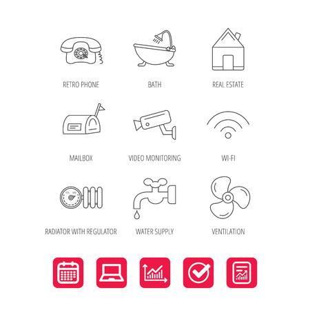 Wifi, video camera and mailbox icons. Real estate, bath and water supply linear signs. Radiator with heat regulator, phone icons. Report document, Graph chart and Calendar signs. Vector