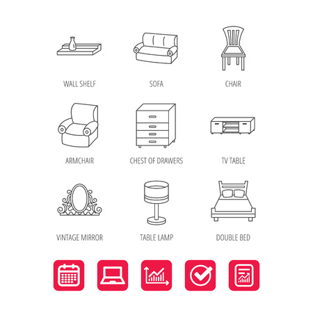 Double bed, table lamp and armchair icons. Chair, lamp and vintage mirror linear signs. Wall shelf, sofa and chest of drawers furniture icons. Report document, Graph chart and Calendar signs. Vector