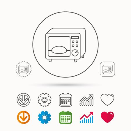 gearwheel: Microwave oven icon. Kitchen appliance sign. Calendar, Graph chart and Cogwheel signs. Download and Heart love linear web icons. Vector