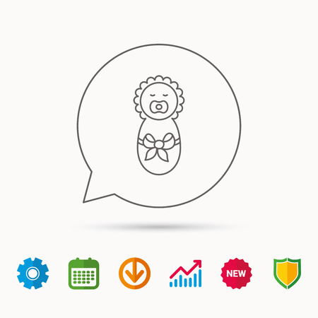 gearwheel: Newborn baby icon. Toddler with bow sign. Child wrapped in blanket symbol. Calendar, Graph chart and Cogwheel signs. Download and Shield web icons. Vector