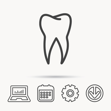 human anatomy: Tooth icon. Dental stomatology sign. Dentistry symbol. Notebook, Calendar and Cogwheel signs. Download arrow web icon. Vector