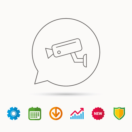 hazard: Video monitoring icon. Camera cctv sign. Calendar, Graph chart and Cogwheel signs. Download and Shield web icons. Vector Illustration