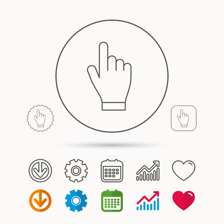 gearwheels: Click hand icon. Press or push pointer sign. Calendar, Graph chart and Cogwheel signs.
