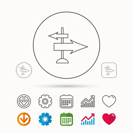 Direction arrows icon. Destination way sign. Travel guide symbol. Calendar, Graph chart and Cogwheel signs. Illustration