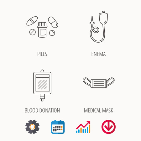 Medical mask, blood and pills icons. Enema linear sign. Calendar, Graph chart and Cogwheel signs.