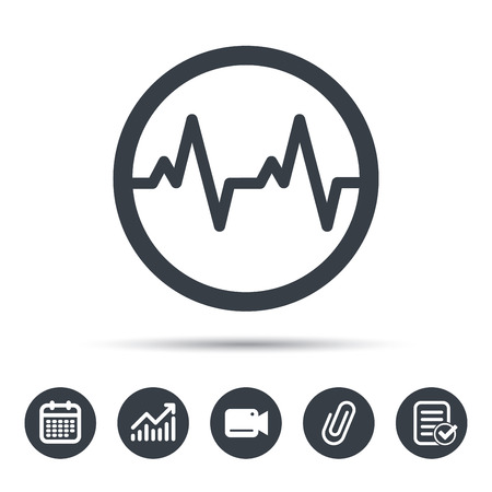 attached: Heartbeat icon. Cardiology symbol. Medical pressure sign. Calendar, chart and checklist signs. Video camera and attach clip web icons. Vector Illustration