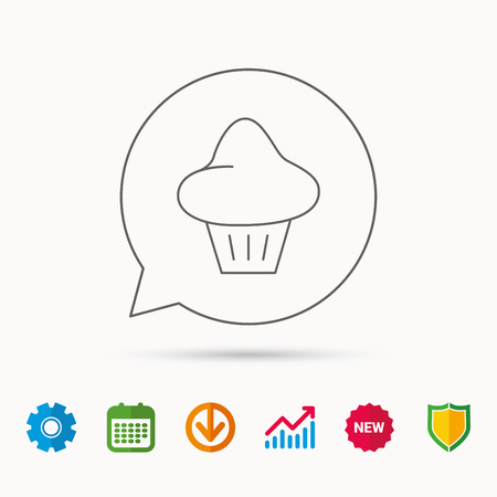 Brioche icon. Bread bun sign. Bakery symbol. Calendar, Graph chart and Cogwheel signs. Download and Shield web icons. Vector Illustration