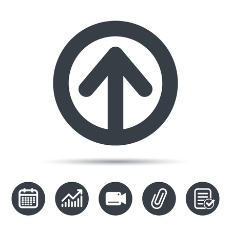 attached: Upload icon. Load internet data symbol. Calendar, chart and checklist signs. Video camera and attach clip web icons. Vector Illustration