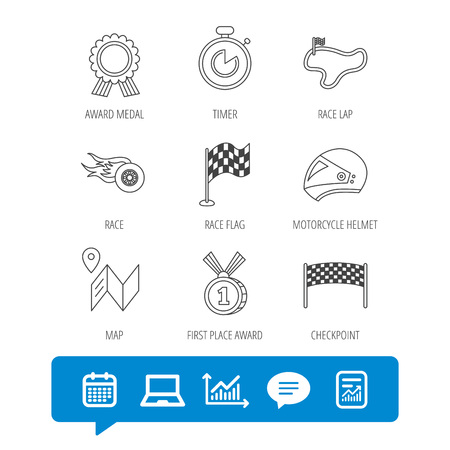 Race flag and speed icons. Winner medal, motorcycle helmet and timer linear signs. Map navigation flat line icons. Report file, Graph chart and Chat speech bubble signs. Laptop and Calendar web icons Illustration