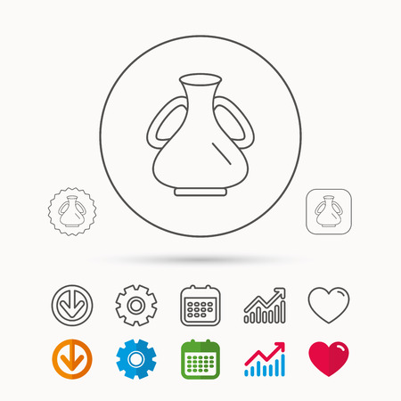gearwheels: Vase icon. Decorative vintage amphora sign. Calendar, Graph chart and Cogwheel signs. Download and Heart love linear web icons. Illustration