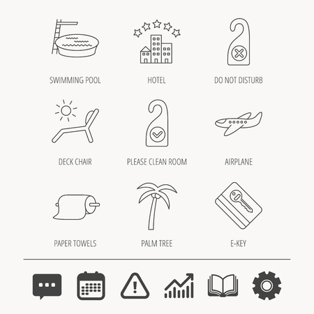 Hotel, swimming pool and beach deck chair icons. E-key, do not disturb and clean room linear signs. Paper towels, palm tree and airplane icons. Education book, Graph chart and Chat signs. Vector Illustration
