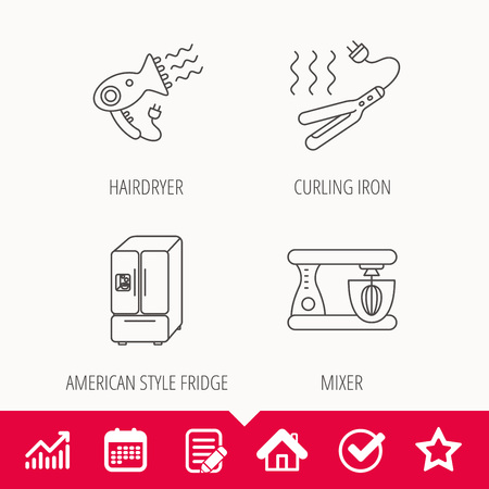 Curling iron, hair dryer and blender icons. American style fridge linear sign. Edit document, Calendar and Graph chart signs.
