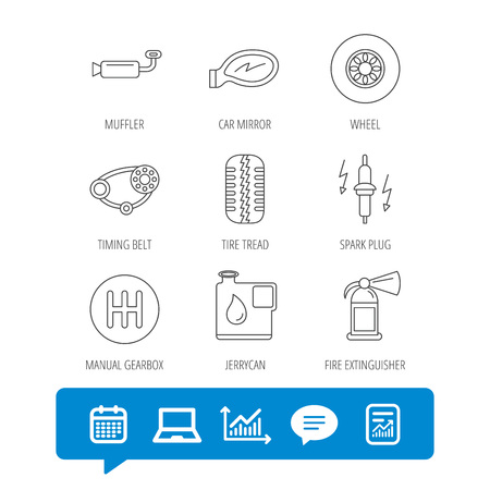 Wheel, car mirror and timing belt icons. Fire extinguisher, jerrycan and manual gearbox linear signs. Muffler, spark plug icons.