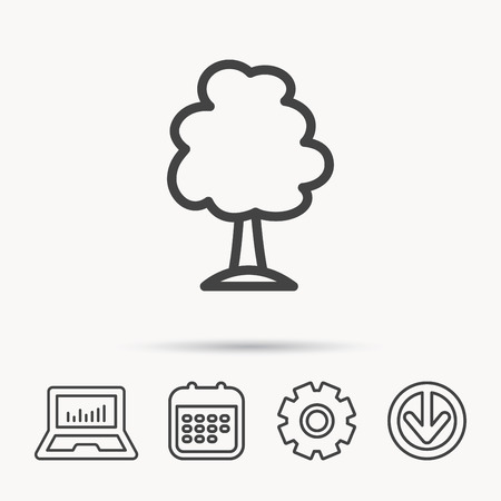 gearwheels: Tree icon. Forest wood sign. Nature environment symbol. Notebook, Calendar and Cogwheel signs. Download arrow web icon.
