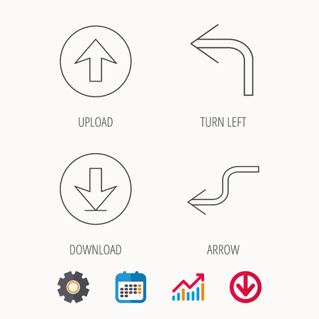 shuffle: Arrows icons. Download, upload and shuffle linear signs. Turn left, back arrow flat line icons. Illustration