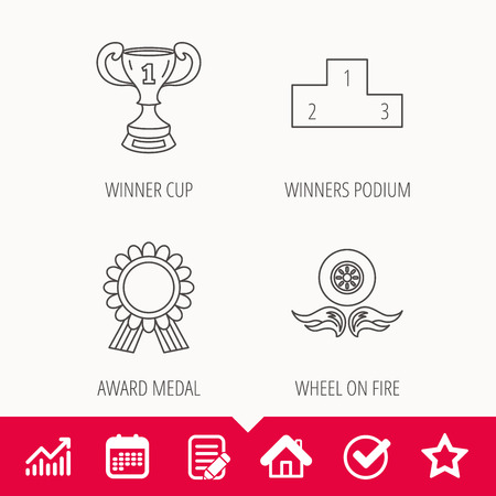 Winner cup, podium and award medal icons. Race symbol, wheel on fire linear signs. Edit document, Calendar and Graph chart signs. Illustration