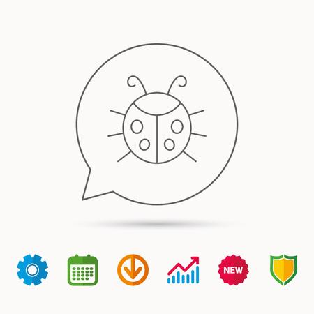 gearwheels: Ladybug icon. Ladybird insect sign. Flying beetle bug symbol. Calendar, Graph chart and Cogwheel signs.