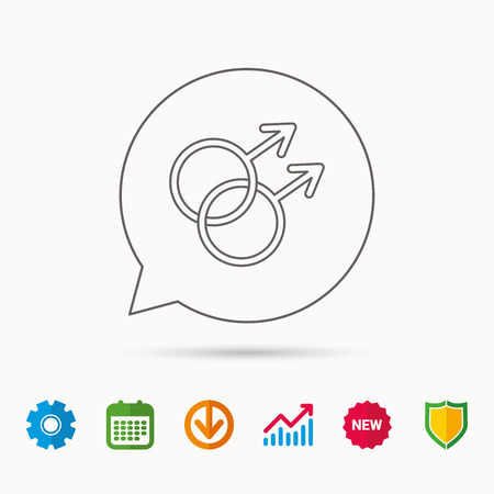 Gay couple icon. Homosexual sign. Calendar, Graph chart and Cogwheel signs. Download and Shield web icons.