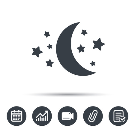 attached: Moon and stars icon. Night sleep symbol. Calendar, chart and checklist signs. Video camera and attach clip web icons.