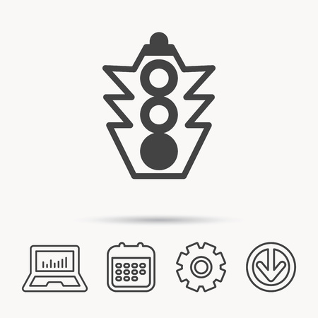 gearwheels: Traffic light icon. Safety direction regulate sign. Notebook, Calendar and Cogwheel signs. Download arrow web icon. Vector