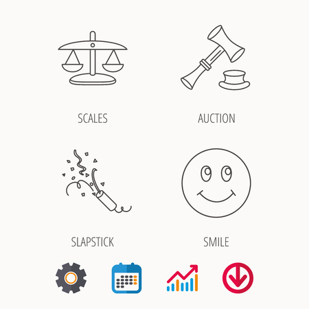 justice scale: Scales of justice, auction hammer and slapstick icons. Smiling face linear sign. Calendar, Graph chart and Cogwheel signs. Download colored web icon. Vector Illustration
