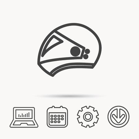 Motorcycle helmet icon. Biking sport sign. Notebook, Calendar and Cogwheel signs. Download arrow web icon. Vector