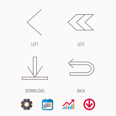 gearwheels: Arrows icons. Download, left direction linear signs. Next, back arrows flat line icons. Calendar, Graph chart and Cogwheel signs. Download colored web icon. Vector Illustration