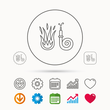 hazard sign: Fire hose reel icon. Fire station sign. Calendar, Graph chart and Cogwheel signs. Download and Heart love linear web icons. Vector Illustration