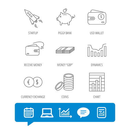 deceleration: Piggy bank, cash money and startup rocket icons. Wallet, currency exchange and dollar usd linear signs. Chart, coins and dynamics icons. Report file, Graph chart and Chat speech bubble signs. Vector