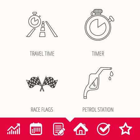 finishing: Race flags, travel timer and petrol station icons. Timer linear sign. Edit document, Calendar and Graph chart signs. Star, Check and House web icons. Vector