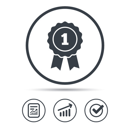 quality guarantee: Winner medal icon. Award emblem symbol. Report document, Graph chart and Check signs. Circle web buttons. Vector
