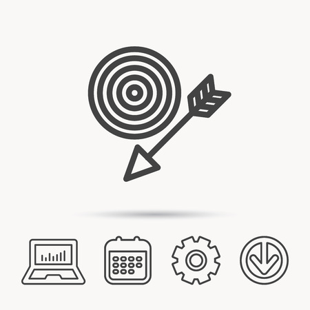 gearwheels: Target with arrow icon. Dart aim sign. Notebook, Calendar and Cogwheel signs. Download arrow web icon. Vector
