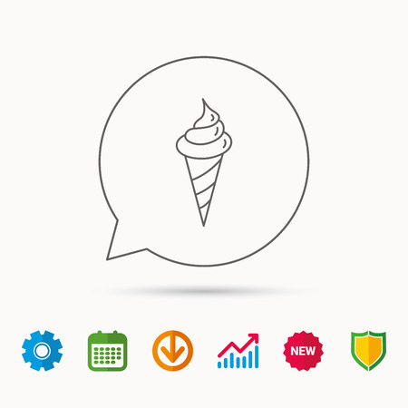 gearwheels: Ice cream icon. Sweet dessert in waffle cone sign. Frozen food symbol. Calendar, Graph chart and Cogwheel signs. Download and Shield web icons. Vector