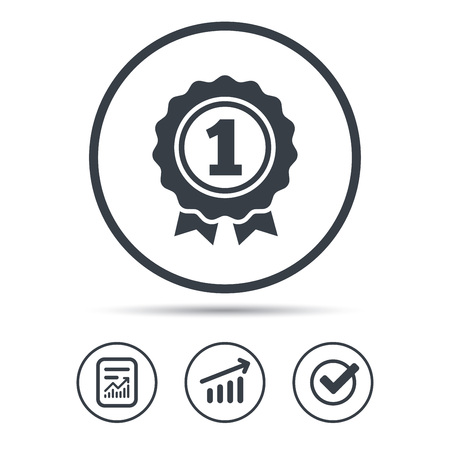 pictograph: Award medal icon. Winner emblem symbol. Report document, Graph chart and Check signs. Circle web buttons. Vector