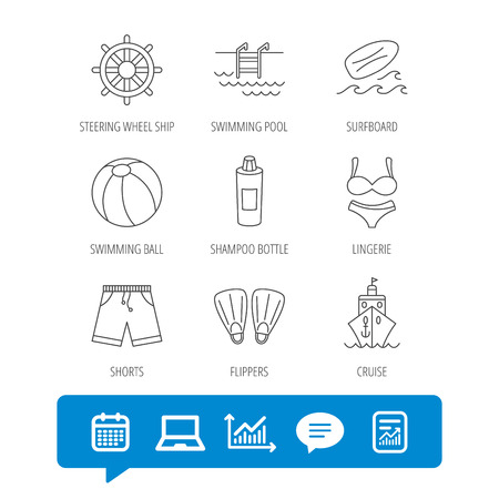 diving board: Surfboard, swimming pool and trunks icons. Beach ball, lingerie and shorts linear signs. Flippers, cruise ship and shampoo icons. Report file, Graph chart and Chat speech bubble signs. Vector Illustration