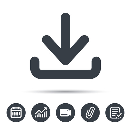 attached: Download icon. Load internet data symbol. Calendar, chart and checklist signs. Video camera and attach clip web icons. Vector