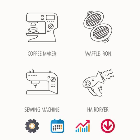 Coffee maker, sewing machine and hairdryer icons. Waffle-iron linear sign. Calendar, Graph chart and Cogwheel signs. Download colored web icon. Vector Illustration