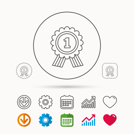 gearwheels: Gold medal award icon. First place sign. Winner symbol. Calendar, Graph chart and Cogwheel signs. Download and Heart love linear web icons. Vector