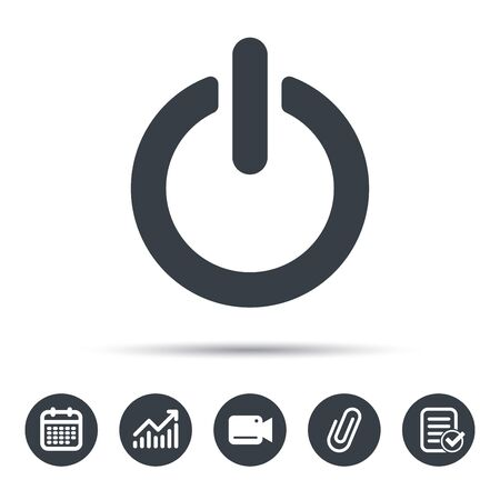 On Off Power Icon Energy Switch Symbol Calendar Chart And