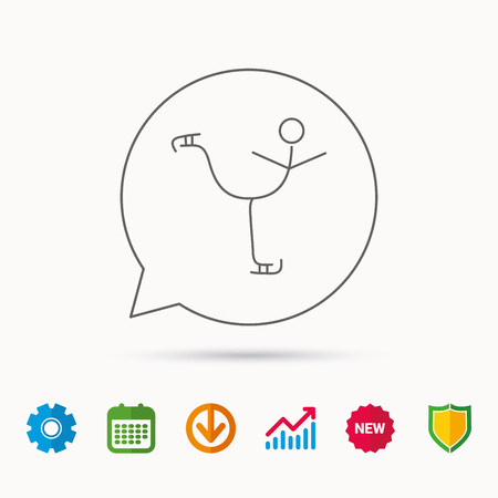 gearwheels: Figure skating icon. Professional winter sport sign. Calendar, Graph chart and Cogwheel signs. Download and Shield web icons. Vector