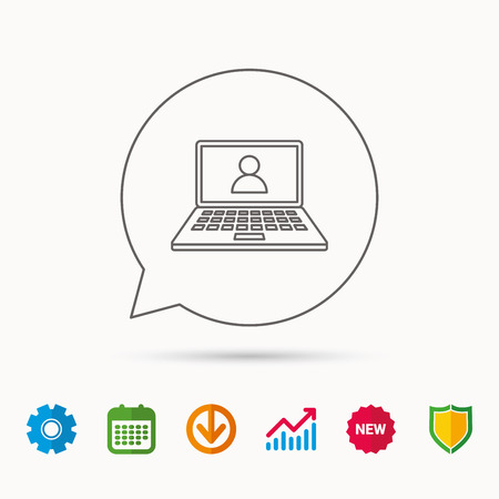 gearwheels: Webinar icon. Chat video sign. Online education symbol. Calendar, Graph chart and Cogwheel signs. Download and Shield web icons. Vector