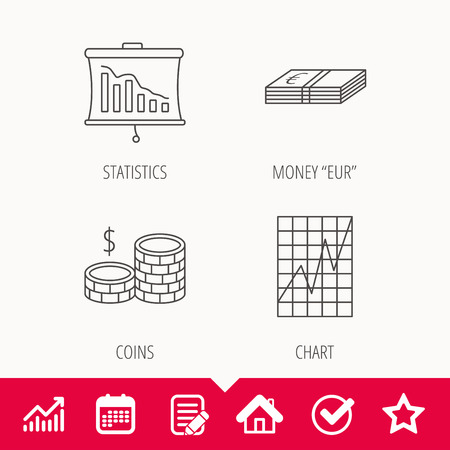 deceleration: Chart, cash money and statistics icons. Coins linear sign. Edit document, Calendar and Graph chart signs. Star, Check and House web icons. Vector Illustration