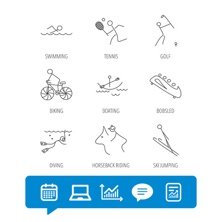 Swimming, tennis and golf icons. Biking, diving and horseback riding linear signs. Ski jumping, boating and bobsleigh icons. Report file, Graph chart and Chat speech bubble signs. Vector