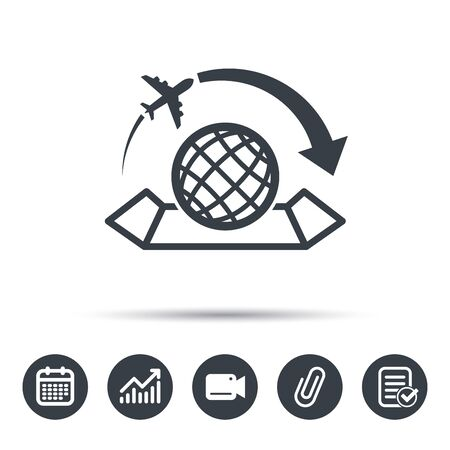 World map icon globe sign travel location symbol calendar chart world map icon globe with arrow sign plane travel symbol calendar chart gumiabroncs Image collections