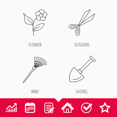raking: Scissors, flower and shovel icons. Rake linear sign. Edit document, Calendar and Graph chart signs. Star, Check and House web icons. Vector Illustration